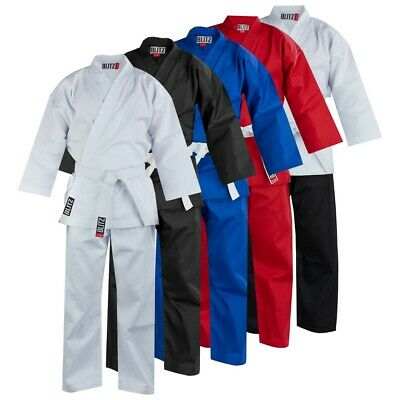 Childs Karate Suit GI + Free White Belt - Kids White,Black, Red, Blue by BLITZ
