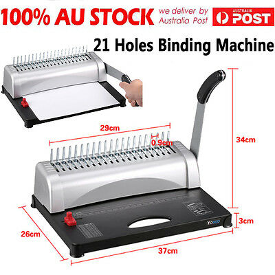 Pro Paper Office Comb Binding Machine 21 Hole A4 Plastic Coil Punch Binder BLK D