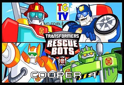TRANSFORMERS Rescue Bots Custom Edible ICING Cake Decoration Topper Party Image