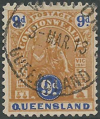 QUEENSLAND 1903-12 Commonwealth issue 9d Brown & Blue ACSC55 cv$30 fine used