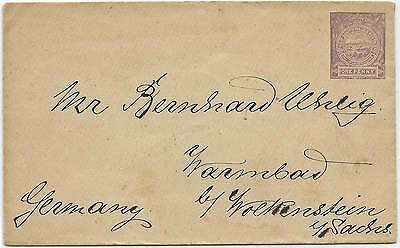 1890c NSW Embossed 1d Sydney View envelope addressed to GERMANY not cancelled