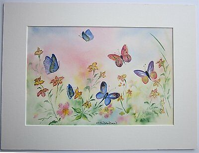"Original Watercolour Painting of butterflies and wild flowers.  16""x12"""