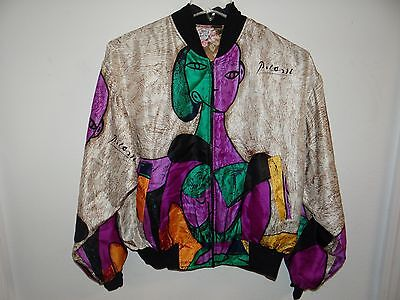 Vintage Picasso Reversible Silk Bomber Jacket Women's Size Large Very Nice
