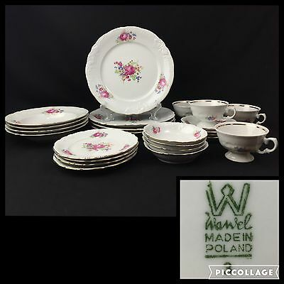Vintage Wawel Poland China 24 Piece Set Pink Rose Embossed W/ Scalloped Edge