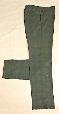 Unbranded 1970 Green Worsted Wool Dress Flat Front Trousers Men's Waist Size: 36