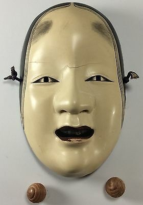 Vintage Hand Carved Japanese NOH Mask Woman SIGNED BY ARTIST with box