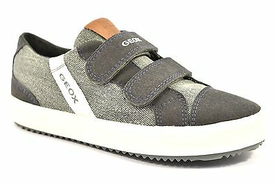 GEOX J722CD 010AF C0001 ALONISSO GRIGIO Bianco Sneakers Bambino Strappi Tessuto