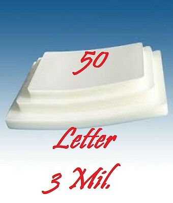 LETTER SIZE  Laminating Laminator Pouches Sheets  50 PK  9 x 11-1/2   3 Mil...