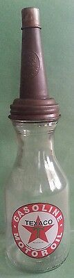 Texaco Gasoline Motor Oil Glass Oil Bottle*collect*man Cave*display*ships Free*