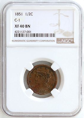 1851 Braided Hair Half Cent NGC XF-40 BN C-1   PQ