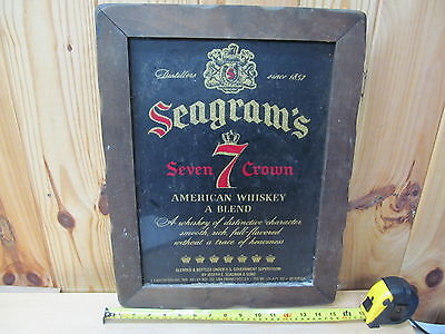 Vintage Framed Bar Sign Liquor Advertising Seagram's Seven Crown Whiskey