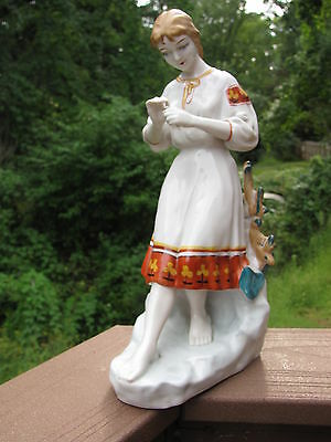 "Antique Vintage Large Porcelain Russian Figurine Girl with Flower 12 "" Tall"