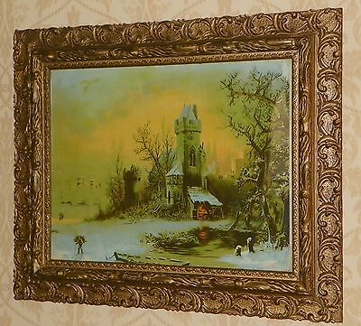 ANTIQUE LARGE ORNATE WOOD GOLD GESSO BAROQUE PICTURE FRAME w/SNOWY CHURCH PRINT