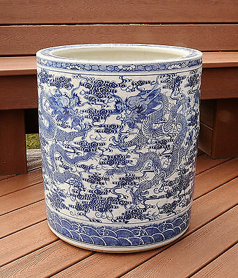 Large  Chinese  Blue and White  Porcelain  Pot  With  Mark      M2137