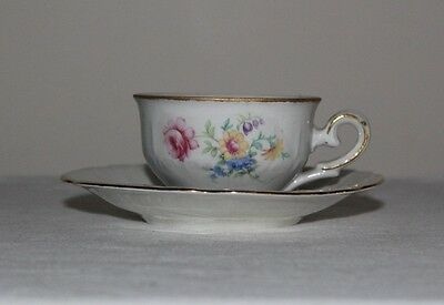 IJB Germany US Zone Vintage Demitasse and Saucer Flowers and Gold Accents