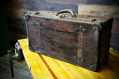 Old Vintage STEAMER Trunk Suitcase Chest Antique Industrial Steampunk Home Decor
