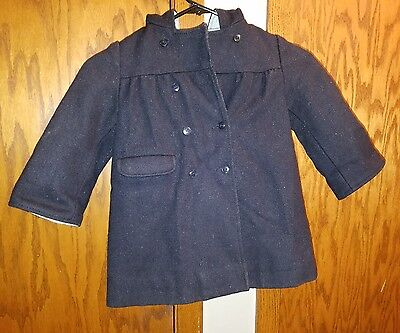 Vintage French Made Girls Blue Button Coat By Rainett Paris Size 86 ?