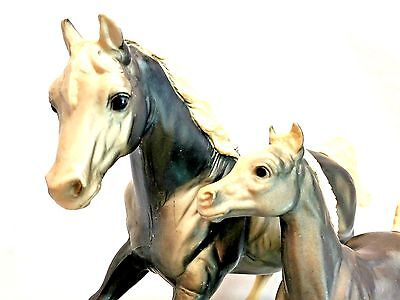 Breyer Traditional #121 Matte Charcoal Mare Foal Mom Baby Set Horse Figure EUC