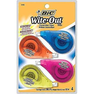 BIC Wite-Out Brand EZ Correct Correction Tape, 4-Count New