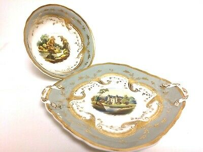 Early 1800's Rockingham Porcelain Bowl & Underplate
