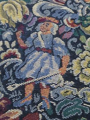 Lovely Thick Vintage 1930's Bouble Sided Tapestry Curtain Throw- Tudor Scene