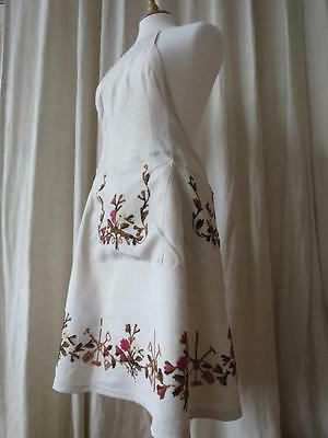 Gorgeous Vintage Hand Embroidered Slubby Linen Full Pinny Apron