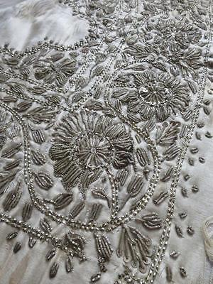 Beautiful Antique Silver Wire Hand Embroidered Panel Table Runner