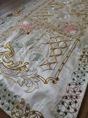 Unusual Large Arts & Crafts Period Silk Hand Embroidered Panel- Glass Spangles