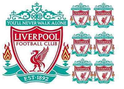 LIVERPOOL 16cm cake topper with 6 5cm cupcake toppers wafer paper
