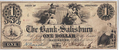 1851 $1 Obsolete Currency Bank  Of Salisbury Md. Maryland Note