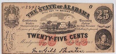 1863 obsolete currency STATE OF ALABAMA MONTGOMERY AL CONFEDERATE CIVIL WAR 25