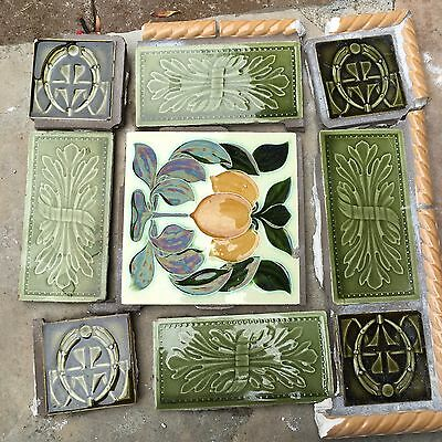 Vintage Antique Art Nouveau Tile Set Mosaic Lemons Yellow Green 1'x1'