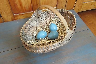 Child's Gathering Basket With Eggs, Country, Farm House, Primitive, Vintage