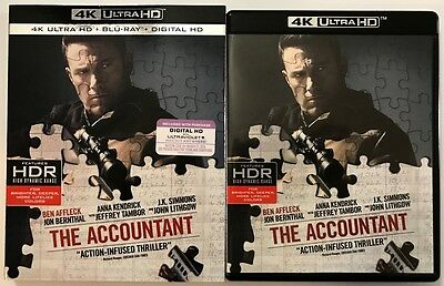 The Accountant 4K Ultra Hd Blu Ray 2 Disc Set + Slipcover Sleeve Free Shipping