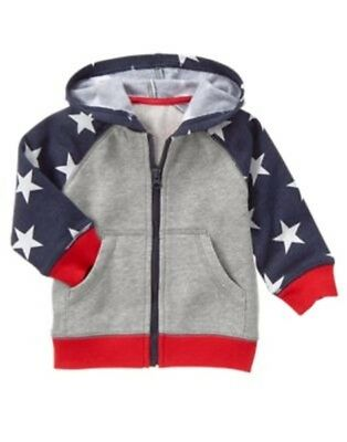 GYMBOREE RED WHITE & CUTE GRAY & BLUE w/ STARS HOODED JACKET 6 12 18 2 3 5 NWT