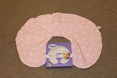 NEW Boppy Classic Plus Slipcover Polka Stripe Pink Microfiber