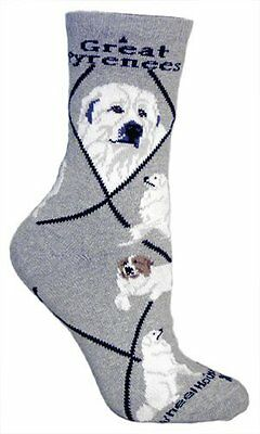 Great Pyrenees Dog Breed Gray Lightweight Stretch Cotton Adult Socks