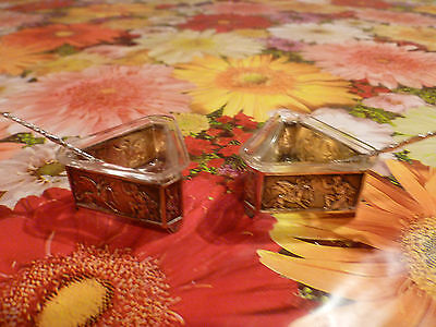 Pair Sterling Silver spoons With Salts Victoria Glass Liners 800 silver