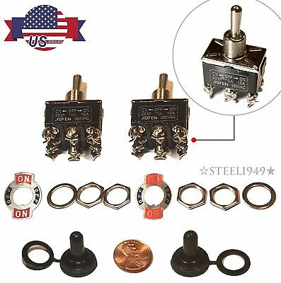 2x 20A 125V 15A 250V DPDT 2-Position Momentary Toggle Switches w Waterproof boot