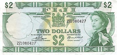 Fiji  * $2 *  ND. 1974  P 72 Series Z/1  ** Replacement ** Circulated Banknote L