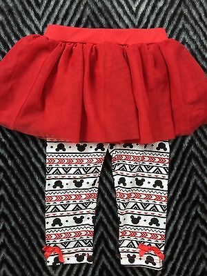 Disney Baby 6 Months Baby Girl Red Skirt With Attached Mickey Mouse Leggings