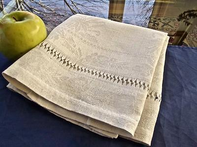 Antique French Homespun Rustic Linen Dish Towel Floral Damask Drawnwork 19x30""