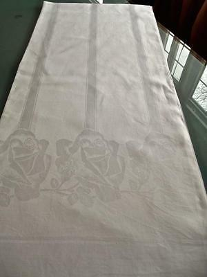 Antique French Deco White Linen 70x90 Tablecloth Damask Roses Geometric Stripes