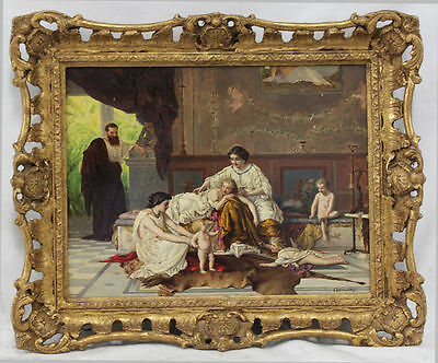 19 C. Museum Quality Antique Oil Painting of Ancient Rome Living