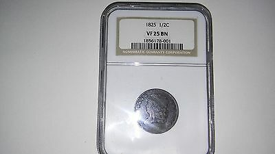 1825 Classic Head Half Cent Certified Ngc Vf25 Bn