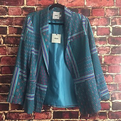 Asos Women's Size 8 Blazer Green Paisley Lined Polyester Career NWT