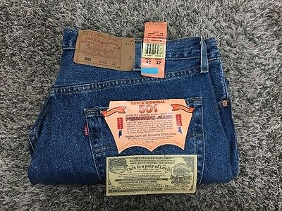 NOS Levi's 501 Denim Jeans Sz 42x32 USA New With Tags & Flasher