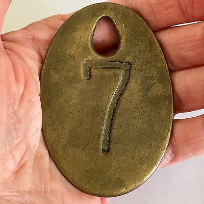 Vintage Hotel Room Key Fob Lucky Number Seven 7 BIG Solid Brass 3 inches Heavy