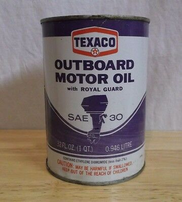 TEXACO Outboard Motor OIL CAN 1qt metal FULL service or GAS station MAN CAVE
