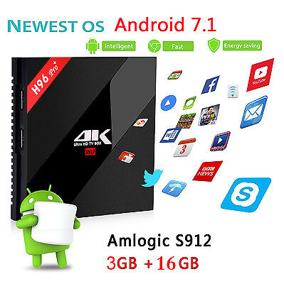 4K H96 Pro+ 3G+16G S912 Octa core Android 7.1 Smart TV Box BT4.1 Dual WiFi HDMI